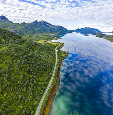 Fjord Raftsund and mountains, aerial view, Vesteralen, Norway, Europe