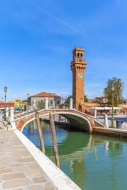Rio del Vetrai Canal, St. Stefano Bell Tower, Murano, Venice, Veneto, Italy, Europe