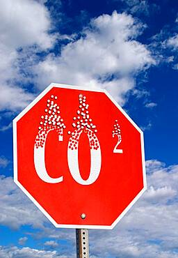 Stop sign, with CO2, climate change, USA, North America