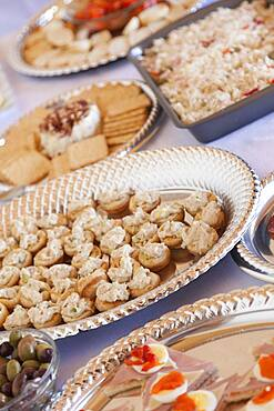 Various italian appetizers on serving table