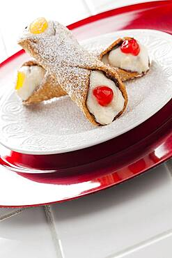 Two tasty cannoli on a plate