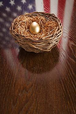 Golden egg in nest with american flag reflection on wooden table