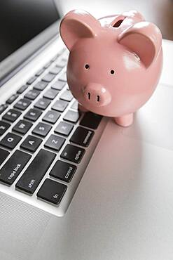 Piggy bank resting on laptop computer keyboard