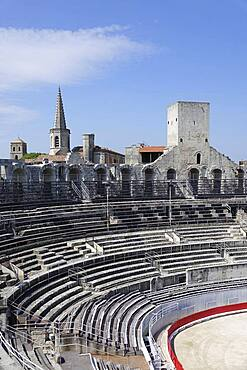 Roman arena amphitheatre with preserved medieval tower, Arles, Bouches-du-Rhone department, Provence Alpes Cote d'Azur region, Mediterranean Sea, France, Europe