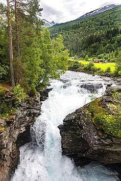 Rushing through a deep ravine, Gudbrandsjuvet, Trollstigen mountain road, Norway, Europe