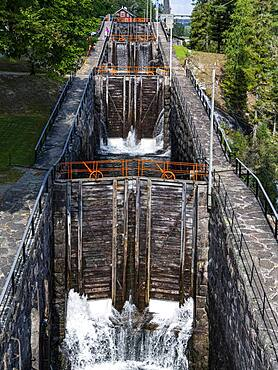 Vrangfoss lock, Telemark Canal, Norway, Europe