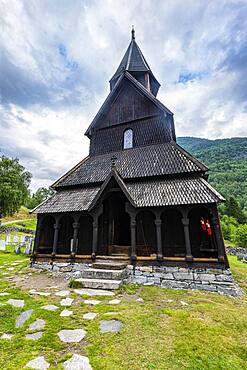 Unesco world heritage site Urnes Stave Church, Lustrafjorden, Norway, Europe