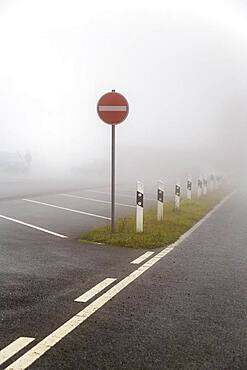 One-way street sign in front of a parking lot in fog, Lower Saxony, Germany, Europe