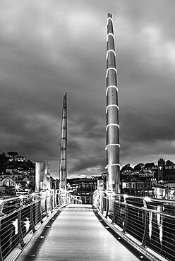 Bridge over Torquay Marina in Black and White, Torquay, Devon, England, United Kingdom, Europe