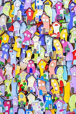 Background from decorative colorful wooden houses, Odessa, Ukraine, Europe