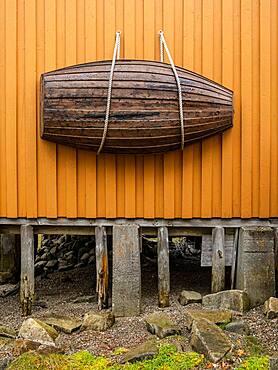 Small fishing boat used as decoration, Barthbryggo, Sjogata, Mosjoen, Norway, Europe