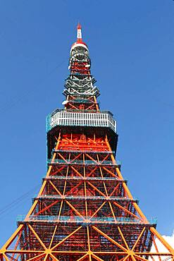 Detail of Tokyo Tower in front of blue sky, Tokyo, Japan, Asia