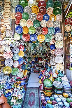 Colorful ceramic bowls sold in old town of Marrakech, Morocco, Africa