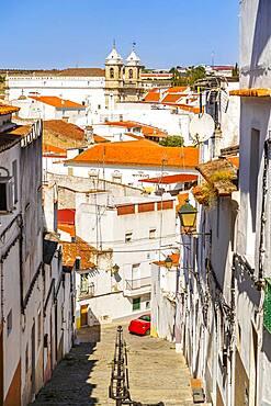 Cityscape of Campo Maior with Saint John the Baptist church, Alentejo, Portugal, Europe
