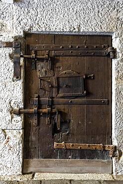 Door with many locks, prison, Doge's Palace, Venice, Veneto, Italy, Europe