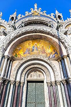 Entrance to St. Mark's Basilica, Basilica di San Marco, Cathedral with gilded interior vault, St. Mark's Square, Venice, Veneto, Italy, Europe