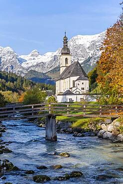 Parish church St. Sebastian with Ramsauer Ache, Ramsau, Berchtesgaden area, Bavaria, Germany, Europe