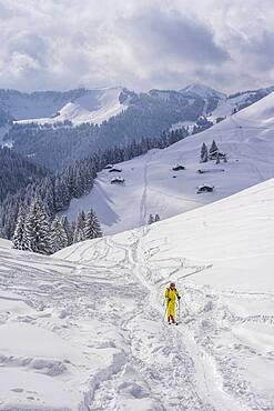 Ski tourers, young man on ski tour to Taubenstein, snowy mountains and huts, Mangfall mountains, Bavarian Prealps, Upper Bavaria, Bavaria, Germany, Europe