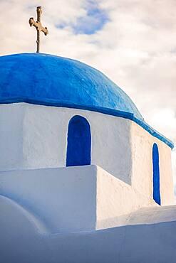 Roof, Blue and White Greek Orthodox Church Agios Nikolaos, Parikia, Paros, Cyclades, Aegean Sea, Greece, Europe