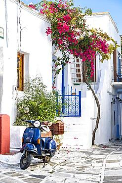 Scooter, Vespa, in an alley, Lefkes, Paros, Cyclades, Aegean Sea, Greece, Europe