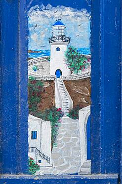 Painting on a house wall, Greek motif with sea and lighthouse