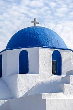 Blue and White Greek Orthodox Church Agios Nikolaos, Parikia, Paros, Cyclades, Aegean Sea, Greece, Europe
