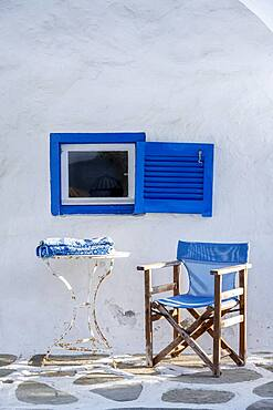 Cycladic house, Blue window and blue chair, Paros, Cyclades, Greece, Europe