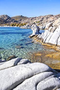 Rocks on the turquoise sea, coast near the beach Kolimbithres, Paros, Cyclades, Aegean Sea, Greece, Europe