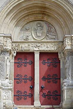 Main portal main facade Romanesque abbey church Eglise abbatiale Saint-Gilles, Saint-Gilles-du-Gard, Gard department, Occitanie region, France, Europe