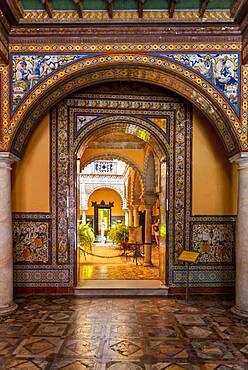 Entrance with azulejo tiles, Moorish architecture, Palacio de la Condesa de Lebrija, Seville, Andalusia, Spain, Europe