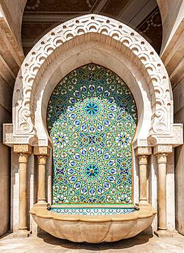 Ornate fountain with mosaic and ornament, Hassan II Mosque, Grande Mosquee Hassan II, Moorish architecture, Casablanca, Morocco, Africa