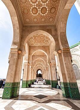 Portico, Hassan II Mosque, Grande Mosquee Hassan II, Moorish architecture, Casablanca, Morocco, Africa