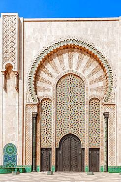 Ornate exterior wall, entrance gate with mosaic and ornament, Hassan II Mosque, Grande Mosquee Hassan II, Moorish architecture, Casablanca, Morocco, Africa