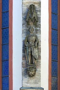 Figure of St. Wenceslas created 1380/90, figure often interpreted as Emperor Charles IV, St. Mary's Church, Sulzbach-Rosenberg, Upper Palatinate, Bavaria, Germany, Europe