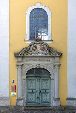 Entrance portal of the monastery church St. Hedwig from 1753, Sulzbach-Rosenberg, Upper Palatinate, Bavaria, Germany, Europe