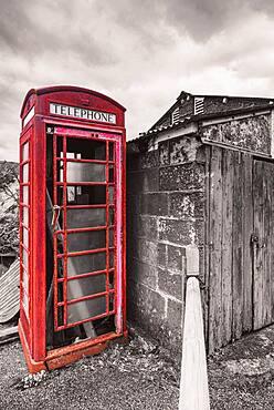 British Old Red Telephone Box in St Agnes, Cornwall, England, United Kingdom, Europe