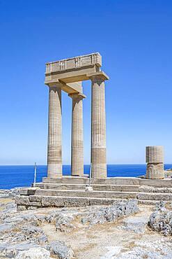 Roman columns, Roman temple, Acropolis of Lindos, Lindos, Rhodes, Dodecanese, Greece, Europe