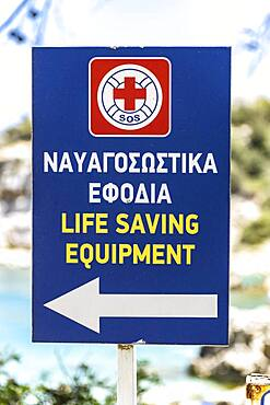 Sign for Life Saving Equipment on a beach, Rhodes, Greece, Europe