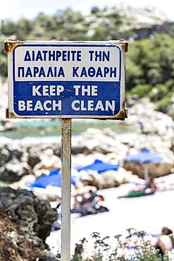 Sign, Please keep the beach clean, Keep the beach clean, Rhodes, Greece, Europe