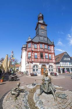 Market square with the old town hall of Lorsch, Hesse, Germany, Europe