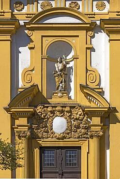 Jesus figure with lamb, on the facade of the protestant town church, baroque building from 1699, Kitzingen, Lower Franconia, Bavaria, Germany, Europe