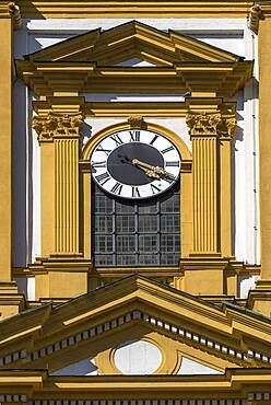 Tower clock of the protestant town church, baroque building from 1699, Kitzingen, Lower Franconia, Bavaria, Germany, Europe