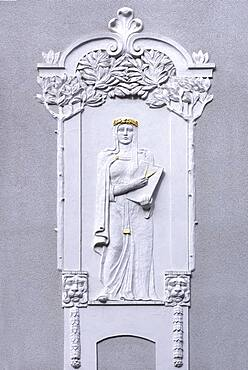 Art Nouveau relief of a woman with compasses on a residential house from 1908, Nuremberg, Middle Franconia, Bavaria Germany