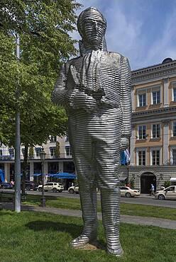 Aluminium statue of Joseph Graf von Montgelas, by the artist Karin Sander, Munich, Bavaria, Germany, Europe