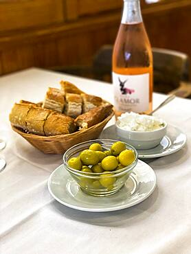 Olives with white bread and wine, Port Andratx, Majorca, Spain, Europe