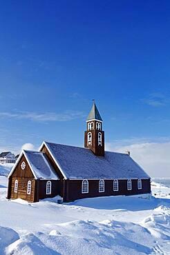 Wooden church in winter landscape, Zion Church, Ilulissat, Greenland, Denmark, North America