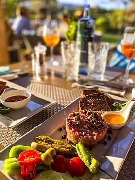 Garnish salmon tartare, Port Andratx, Majorca, Spain, Europe