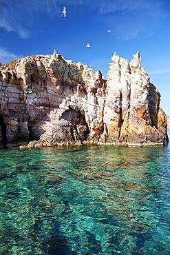 Rock island between Polyaigos and Milos, Cyclades, Greece, Europe