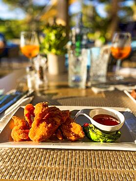 Fried chicken wings with sweet and sour sauce, Port Andratx, Majorca, Spain, Europe
