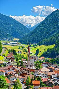 Mountain village Nauders with Ortler mountain range, Nauders, Tyrol, Austria, Europe